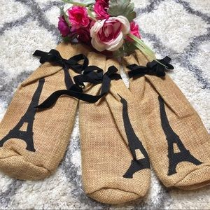 3 Paris Burlap Wine Bags (set of 3g